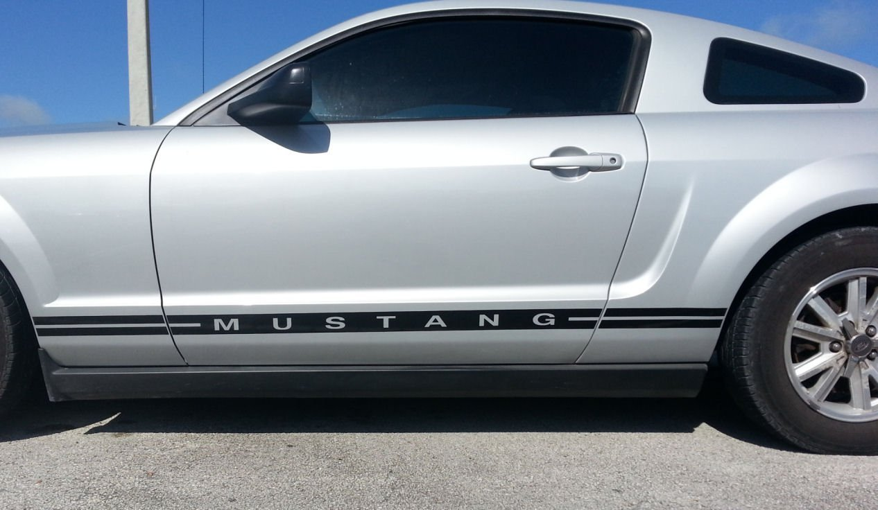 Mustang Decals And Stripes >> Custom Ford Mustang Gt Body Side Stripes And Text Lower Door Decal